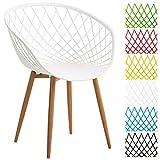 CLP Esszimmerstuhl MORA mit Kunststoff Sitzschale, Wartezimmerstuhl, Retrostuhl, Besucherstuhl mit Metallgestell in Holzoptik, Weiß