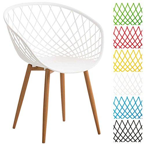 CLP Chaise de salle à manger MORA, coque en plastique, chaise de salle d'attente, chaise style rétro, chaise visiteur avec support en métal imitation bois blanc