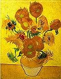wieco Art–Moderne abstrakte Blumen Giclée-Leinwanddruck gespannt und gerahmt Artwork Vase mit fünfzehn Sonnenblumen von Van Gogh Öl Gemälde Reproduktion Bilder auf Leinwand Art Wand für Home Décor van-0015