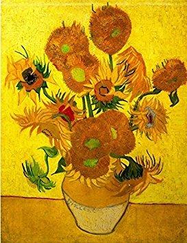 Bad Zeit, Gerahmt (wieco Art–Moderne abstrakte Blumen Giclée-Leinwanddruck gespannt und gerahmt Artwork Vase mit fünfzehn Sonnenblumen von Van Gogh Öl Gemälde Reproduktion Bilder auf Leinwand Art Wand für Home Décor van-0015)