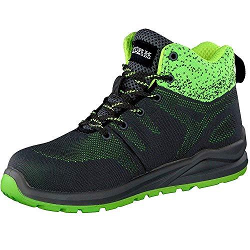 HSM Schuhmarketing WORK2DO Sportlicher Sicherheitsstiefel S1P, Arbeitsschuhe, Berufsschuhe Farbe: Grau/Grün; Größe:45
