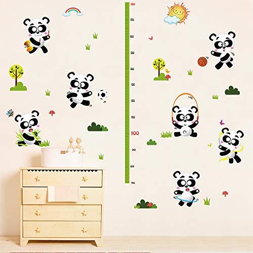 Sticker mural Dessin Animé Animaux Sport Panda Hauteur Enfants Chambre Chambre Enfants Grandir Mesure Autocollant Amovible Décor Mural