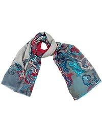 109835fbda3490 Shirin Sehan Schal VANESSA Petrol Grau Wolle Seide bordeaux hell blau Paisley  Muster allover print