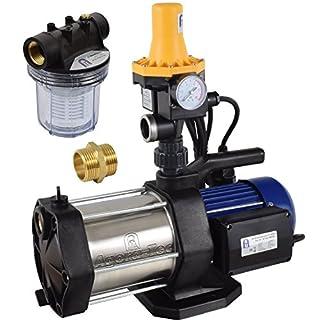 Agora-Tec® AT-Hauswasserwerk-5-1300-3DW-1L, 5 stufige Kreiselpumpe mit max: 5,6 bar und max: 5400l/h, inkl. Druckschalter mit Trockenlaufschutz und Vorfilter