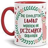 Tassendruck Geburtstags-Tasse Die Coolsten Lamas Werden im Dezember Geboren - Innen & Henkel Rot -/Lama/Alpaka/Geschenk-Idee/Lustig/Witzig/Spaß/Fun Qualität - 25 Jahre Erfahrung
