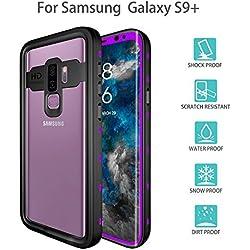 Galaxy S9Plus Coque étanche, Uzer (transparente Série résistant aux chocs IP68Certifié anti-poussière étanche Sable Proof anti-neige Coque de protection intégrale pour natation plongée Surf plongée avec tuba Ski violet