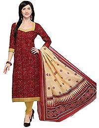 Vaamsi Women's Cotton Dress Material (Deep1061_Brown_One Size)