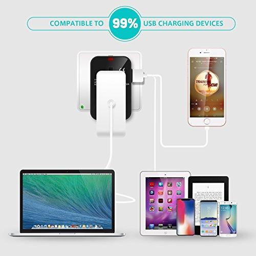Adaptador de Viaje Universal,  LENCENT Enchufe Adaptador Internacional inglés/eeuu/EU/AUS con 2 Puertos USB para más de 150 Países para Ordenadores Portátiles,  Teléfonos,  Tabletas,  Cámara y más.