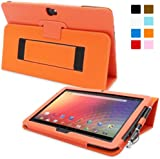 Snugg™ Nexus 10 Case - Smart Cover with Flip Stand & Lifetime Guarantee (Orange Leather) for Nexus 10