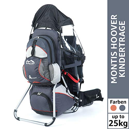 Montis Hoover Kraxe Kindertrage bis 25kg Kinder-Gewicht mit vielen Extras sowie Erweiterungen - geringes Eigengewicht, passend für beide Elternteile, geeignet für längere Wanderungen, GRAU