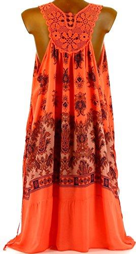 Charleselie94® - Robe été bohème dos dentelle orange ALYSSA ORANGE Orange