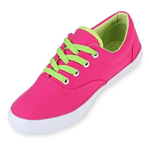 Damen Sneakers Stoff | Sneaker Low Muster | Basic Schuhe Animal Print | Freizeit Turnschuhe Schnürer Pink Neon