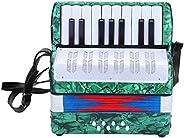 Dilwe Acordeón, Mini Pequeño 17-Key 8 Bajo Acordeón Educativo Musical Instrumento Juguete para Principiantes E