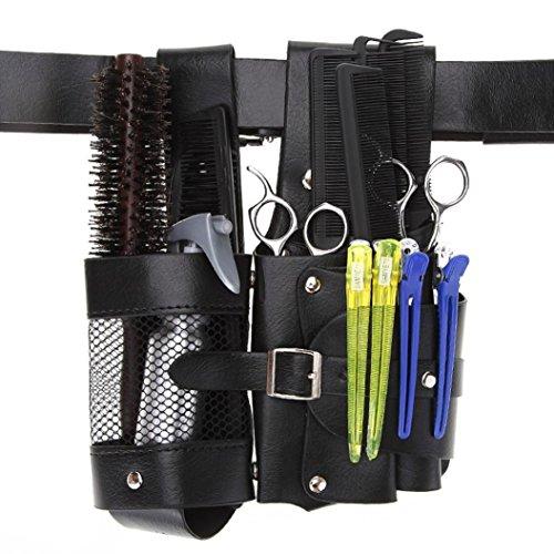 Yogogo Unisex Lauftasche, Friseur Schere Holster Tasche, Kamm Schere Rasierer, Friseur Werkzeuge Tasche, Wasserdicht, 25x20cm, Leder (A)