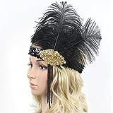 Chunyang Frauen Straußenfeder Kostüm Stirnband Elastische Pailletten Showgirl Kopfstück