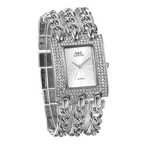 JewelryWe Damen Uhren Elegant Analog Quarz Armbanduhr Strass Rechteckig Beiläufige Uhr mit dreifach Panzerkette Armband Silber