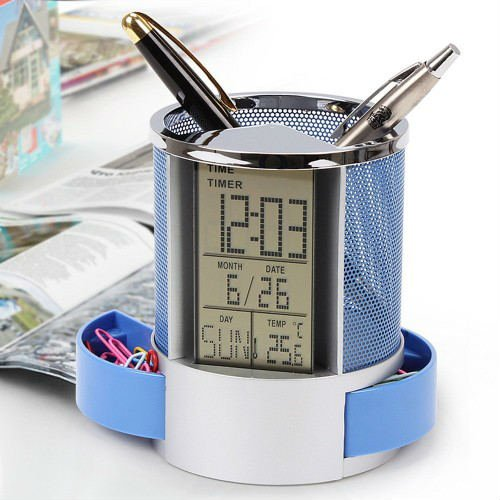 BJE Digital Calender Pen holder with Timer, Alarm clock, Thermometer, Digital Pen Stand, Digital Clock, All In One Pen Stand, Office Organizer, Desk Organizer (Premium Quality)  available at amazon for Rs.299