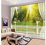 MSCLY Benutzerdefinierte Luxus Vorhänge 3D Hd Balkon Baum Landschaft Vorhänge Für Wohnzimmer Hotel Cafe Home Decor Vorhang Vorhänge H240Xw280Cm