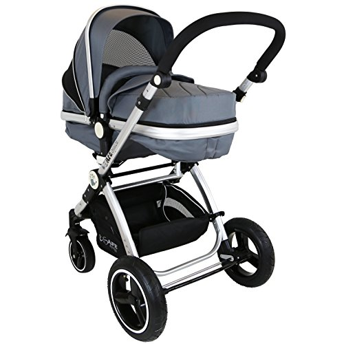 i-Safe System – Grey Trio Travel System Pram & Luxury Stroller 3 in 1 Complete With Car Seat