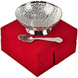 Handicraft Hub India Silver Plated Floral Brass Bowl With Spoon Set Of 2 Pcs With Velvet Box