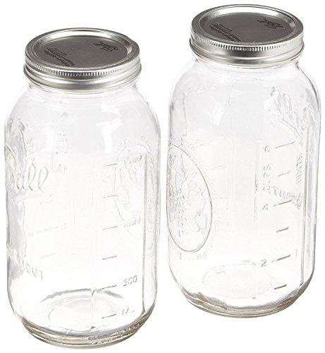 Ball Mason jar-64oz klar Glas breit Mund Ball Hälfte L 2er-Packung farblos -