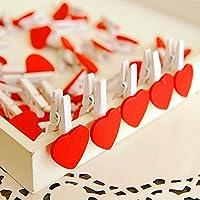 wicemoon rojo pinzas de madera amor corazón papel fotográfico Craft pinzas Mini Clothespins 10pcs