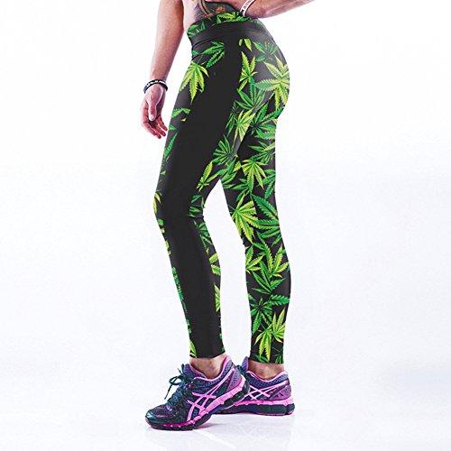 VWU Damen Ladies Große Mädchen Workout Gedruckt Printed Leggings Gym Sport Laufen Laufhose Yoga Leggins Fitness Gewehr S-4XL Grünes Blatt