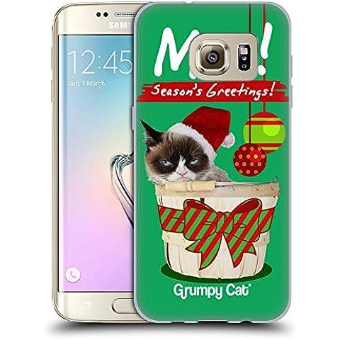 Ufficiale Grumpy Cat Saluti Natalizi Natale Cover Morbida In Gel Per Samsung Galaxy S7 edge - Saluto Edge Design