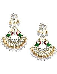 Spargz Gold Plated Wedding & Party Wear Kundan Pearl Multicolor Enamel Work Peacock Chand Bali Earrings For Women...