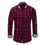 Chemise De Luxe 100% Coton Pour Hommes - Chemises De Travail Grande Taille Chemise À Carreaux À Manches Longues Chemise Tissée À Carreaux Imprimés,Red,L