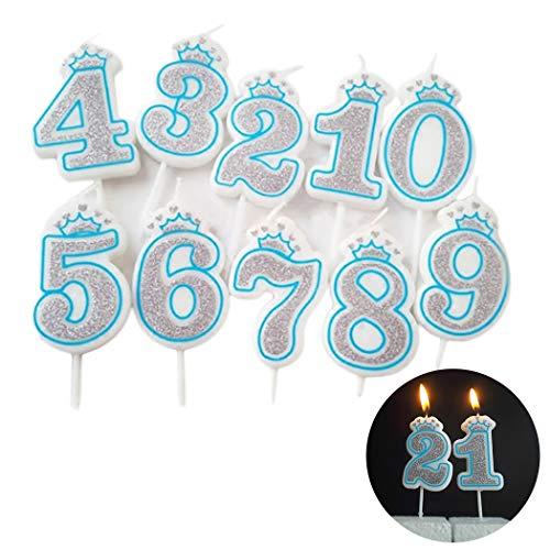 JUSTDOLIFE 10 UNIDS Vela De Pastel De Cumpleaños Creativo 0 A 9 Número Vela para La Decoración De Pasteles