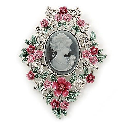 Motif floral Rose/vert Cameo Broche en Argent–70mm