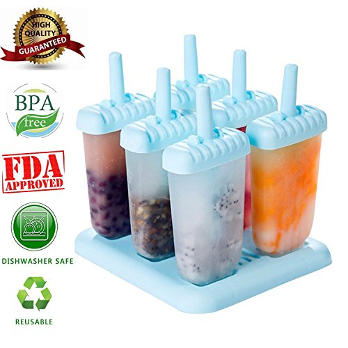 6 PC-Platz Design Ice Cream Pop Formen Maker Popsicle Formen Gefrorenes Eis Joghurt Jelly Pop Mold Popsicle Maker Lolly-Form-Behälter Pan-Set für Kinder / Kinder-Hot (blue)