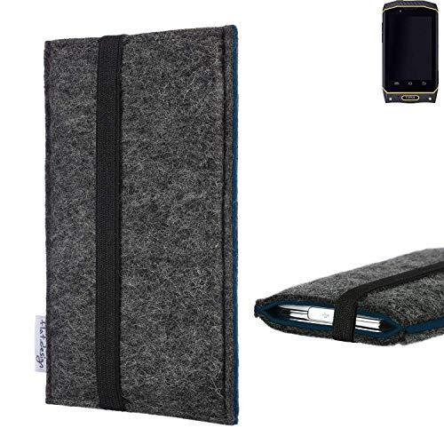 flat.design Handyhülle Lagoa für Cyrus CS 19 | Farbe: anthrazit/blau | Smartphone-Tasche aus Filz | Handy Schutzhülle| Handytasche Made in Germany