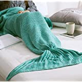 "ChezMax Knitting Wool Mermaid Tail Blanket Soft Thick Sleeping Bag For Living Room Birthday Christmas Gift For Girls Green 27.6""x 55.1"""