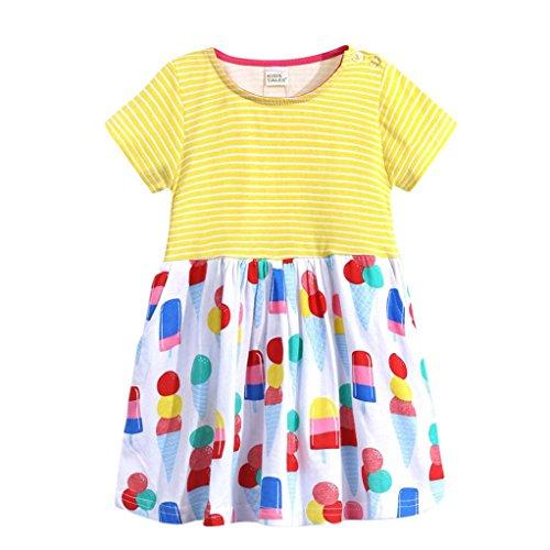 JERFER Floral Gestreifte Prinzessin Kleid Kleinkind Kinder Mädchen Freizeitkleidung Outfits (Gelb, ()