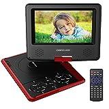 DBPOWER 7.5' Lecteur DVD Portable avec écran orientable, compatibilité carte SD et interface USB, lit directement les formats MP4, AVI, RMVB, MP3 et JPEG (Rouge, 7.5)
