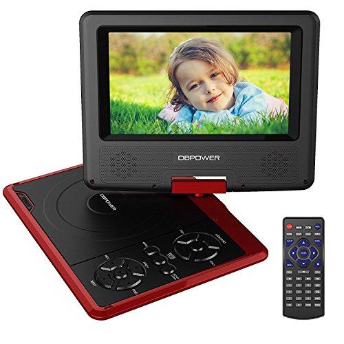"""DBPOWER 7.5"""" Lecteur DVD Portable avec écran orientable, compatibilité carte SD et interface USB, lit directement les formats MP4, AVI, RMVB, MP3 et JPEG (Rouge, 7.5)"""