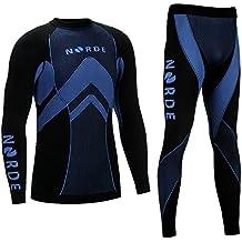 Therm Otech norde–Funcional Para Hombre Térmica activo transpirable Base Layer Set Outdoor Ciclismo Running, color negro/azul, tamaño XL