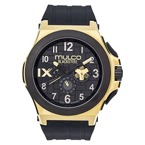 Mulco Blacksteel Men's Watch- Swiss Movement- Water Resistant- Black Silicone Band- MW5-4379-022