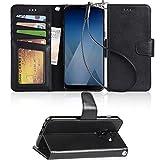 Premium Samsung Galaxy A5 2018 Hülle, Arae schwarz aus Leder zum Klappen mit Karten- und Geldfach, mit Kick-Stand zum Aufstellen, Magnetverschluss