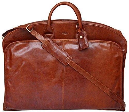 S Babila - Kleidersack aus weichem Vollleder - Kleidertasche für Reisen - Cognac - Leder-reise-kleidersack