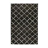 havatex Sisal-Look Flachgewebe Teppich Lux Dia - Schwarz Grau - robuste Kunstfaser in Sisal-Optik | pflegeleicht & strapazierfähig | Wohnzimmer Schlafzimmer, Farbe:Schwarz/Grau, Größe:120 x 170 cm