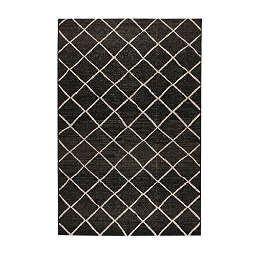 havatex Sisal-Look Flachgewebe Teppich Lux Dia - Schwarz oder Silber - robuste Kunstfaser Sisal-Optik | pflegeleicht, strapazierfähig | Wohnzimmer Schlafzimmer, Farbe:Schwarz/Grau, Größe:120 x 170 cm