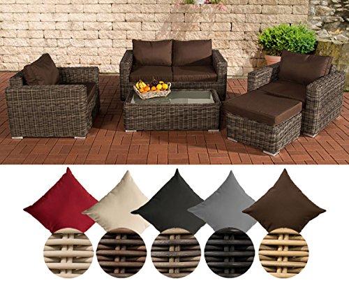 CLP Polyrattan-Lounge MADEIRA inklusive Polsterauflagen | Gartenmöbel-Set bestehend aus einem 2er-Sofa, zwei Sesseln einem Loungetisch und einem Hocker | In verschiedenen Farben erhältlich Bezugfarbe: Terrabraun, Rattan Farbe grau-meliert
