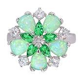 CAXYBB Ring Freies verschiffen Grün Feueropal Kristall Zirkonia Silber Überzogene Ring für Frauen Schmuck Ring Sz 6-10 OJ5065