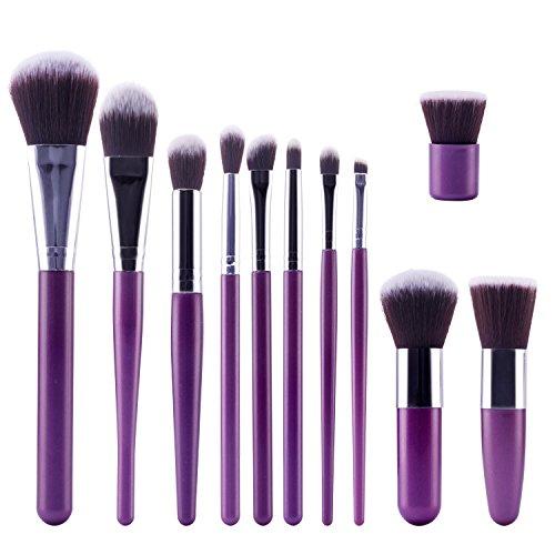 TOPBeauty Kit de Pinceau maquillage Professionnel 11 PCS Ombre a Paupiere Dore Blush Fondation Pinceau Poudre Fond de teint Anti-cerne Kit Pinceaux Purple Sliver