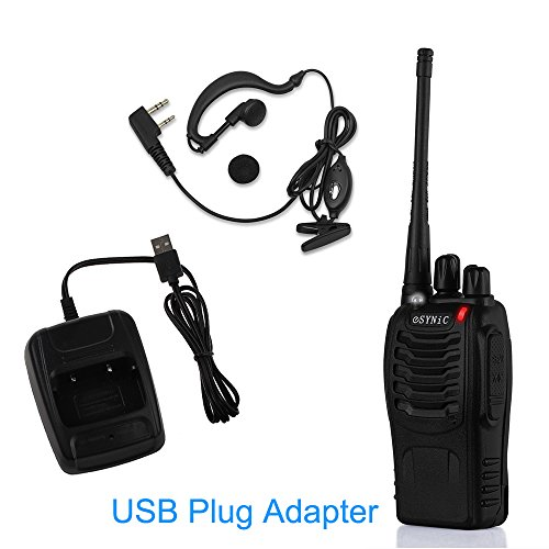 ESYNiC-Walkie-Talkies-2-pcs-Long-Range-Two-Way-Radio-UHF-400-470MHz-Walky-Talky-with-Original-Earpieces-16CH-Single-Band-FM-Handheld-Transceiver-with-LED-Light-Voice-Prompt-for-Field-Survival-Biking-a