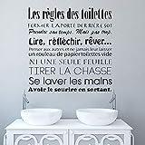 Toilette Wc Autocollants Règles De Toilette Français Autocollant Mural Vinyle Stickers Muraux Mur Art Mural Papier Peint Maison Déco. Taille: 28X30Cm YUJIANF