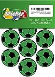 28 Aufkleber, Fußball, Sticker, 50 mm, grün/schwarz, aus PVC, Folie, bedruckt, selbstklebend, EM, WM, Bundesliga